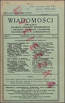Wiadomości Związku Polskich Zrzeszeń Technicznych 1930 nr 23