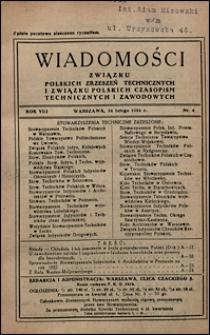 Wiadomości Związku Polskich Zrzeszeń Technicznych 1932 nr 4