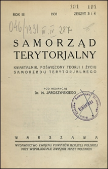Samorząd Terytorialny 1931 nr 3-4