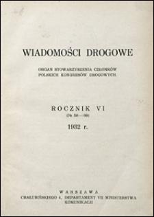 Wiadomości Drogowe 1932 spis rzeczy
