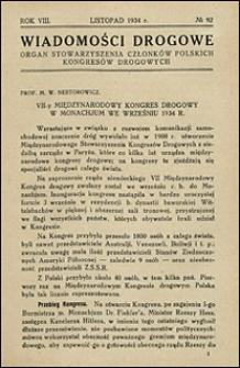 Wiadomości Drogowe 1934 nr 92