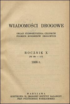Wiadomości Drogowe 1936 spis rzeczy