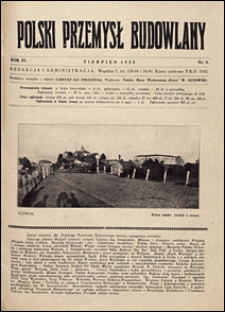 Polski Przemysł Budowlany 1928 nr 8