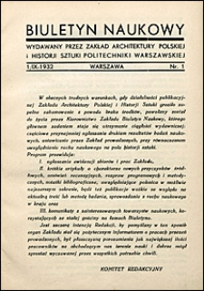 Biuletyn Historji Sztuki i Kultury 1932 nr 1