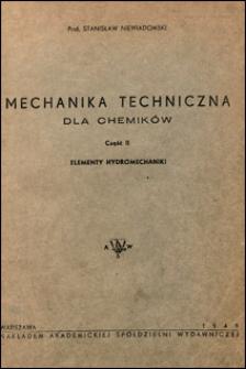 Mechanika techniczna dla chemików. Cz. 2, Elementy hydromechaniki