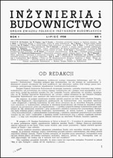 Inżynieria i Budownictwo 1938 nr 1