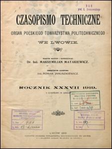 Czasopismo Techniczne 1919 spis rzeczy