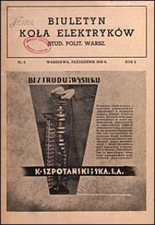 Biuletyn Koła Elektryków Studentów Politechniki Warszawskiej 1938 nr 6