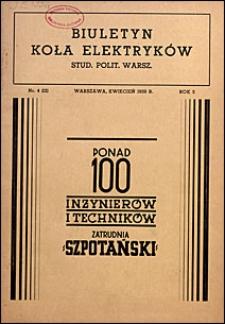 Biuletyn Koła Elektryków Studentów Politechniki Warszawskiej 1939 nr 4