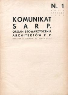Komunikat SARP-u 1937 nr 1