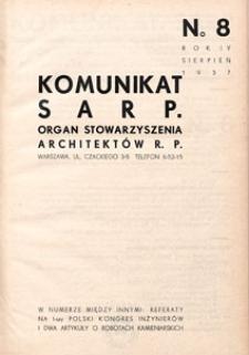 Komunikat SARP-u 1937 nr 8