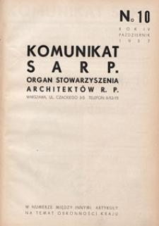 Komunikat SARP-u 1937 nr 10