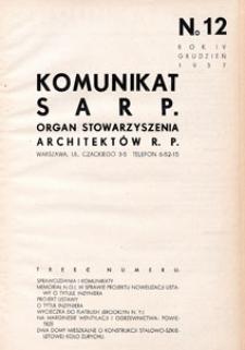 Komunikat SARP-u 1937 nr 12