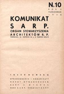 Komunikat SARP-u 1938 nr 10