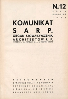 Komunikat SARP-u 1938 nr 12