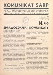 Komunikat SARP-u 1939 nr 4/5