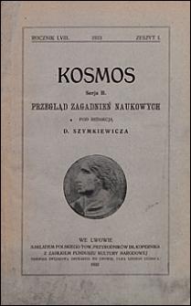 Kosmos 1933 nr 1. Seria B. Przegląd zagadnień naukowych
