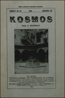 Kosmos 1931 nr 3-4. Seria A. Rozprawy