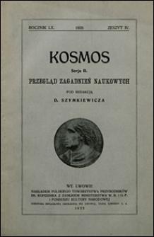 Kosmos 1935 nr 4. Seria B. Przegląd zagadnień naukowych