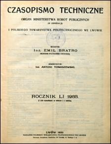 Czasopismo Techniczne 1933 spis rzeczy