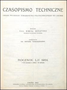 Czasopismo Techniczne 1934 spis rzeczy