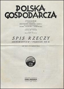 Polska Gospodarcza 1931 Spis rzeczy