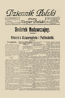 Otwarcie Uniwersytetu i Politechniki. Dziennik Polski. Dodatek Nadzwyczajny, 1915, nr 314