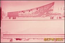 Kryty welodrom, rysunek architektoniczny dwóch elewacji budynku, Moskwa, Rosja