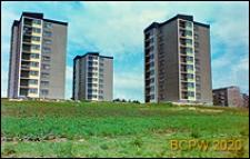 Osiedle mieszkaniowe, wieżowce na zazielenionym wzniesieniu, widok ogólny, Kraków-Nowa Huta