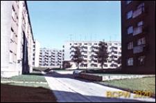 Śródmieście, zabudowa mieszkaniowa z uliczką między blokami, Szczecin