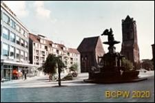 Plac Orła Białego, fontanna z orłem, Bazylika Archikatedralna św. Jakuba Apostoła trzypiętrowy pawilon Motozbytu, nowe budynki mieszkalne, Szczecin